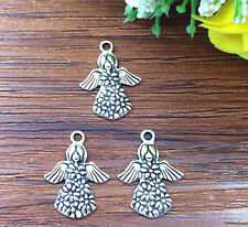 8pcs Angel Tibetan Silver Bead charms Pendants DIY jewelry 22x16mm