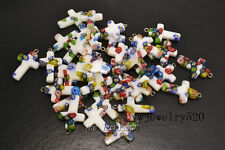 FREE Wholesale Lot 20ps Flower Millefiori Glass Cross Silver Plated Bead Pendant