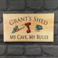 Large Personalised Shed Plaque / Sign - My Cave, My Rules Workshop Dad Grandad