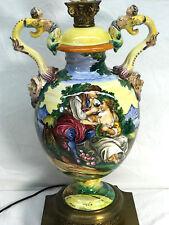 Italian Majolica Lamp LOVERS / COURTING SCENE - ARDALT Antique Capodimonte-Style