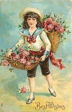 Sailor Girl In Knee Pants Carries Basket Of Roses~Back Basket~Emboss~Germany '08