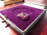 Schöner 925 Silber Ring Modern Klein Elegant Schlicht Eckig Zackig Vintage Retro