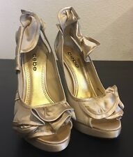 BEBE Ariel Gold Ruffle Pumps Heels Women's Satin Shoes US 5 Great Condition $139