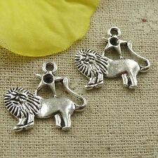 15pcs tibetan silver lion charms pendants findings 15x16mm A3214