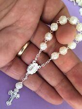 25 Pc Mini Rosary IVORY COLOR/Silver Baptism Favor/Decenario/Recuerditos/Decade