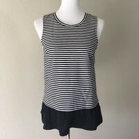 J. Crew Women's Size XS Sleeveless Black White Striped Ruffled Tank Top Blouse