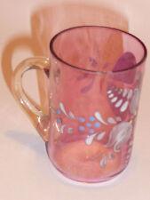 ancien petit verre émaillé fleuri , 1900 , LEGRAS ?? ,Enamelled glass