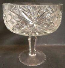 """Vintage Leaded Crystal Pedestal Compote Starburst Design 7"""" x 6.5"""" Excellent Con"""