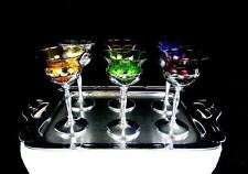 """CAMBRIDGE GLASS FARBER BROS 7 PIECE MULTI-COLOR 5 3/4"""" CORDIALS & TRAY 1932-1965"""