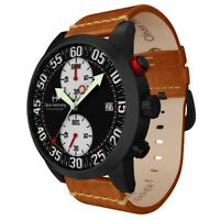 Oliver Hemming Black Sport Chronograph Watch with Tan Leather Strap
