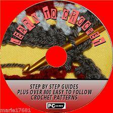 """""""come Crochet"""" STEP BY STEP Guide e 800 + GRANDE Crochet Modelli CD ROM NUOVO"""