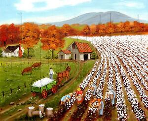 Primitive Folk Art Print Cotton Field Arie Taylor