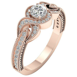 Natural Diamond I1 G 1.05 Ct Milgrain Solitaire Engagement Ring 14K Solid Gold