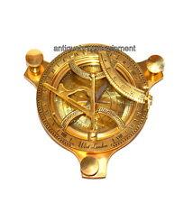 "Antique vintage maritime brass 4"" sundial compass nautical decor navigational"
