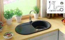 ONE BOWL GRANITE KITCHEN SINK 750x415mm REVERSIBLE 1.0 BOWLS WITH DRAINER BLACK