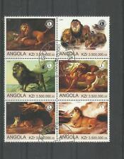 Angola sehr schöner Zusammendruck 6 Marken Löwen