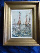 Marine , peinture huile sur bois couteau , voiliers , signée A Delouvy , 1961