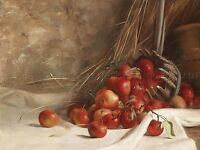 PAINTING STILL LIFE OIL RED APPLE FRUIT UNKNOWN ARTIST GERMANY POSTER LV2883
