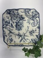 "222 Fifth Adelaide Blue Fine China 8 3/8"" Square Plate Bird & Flowers"