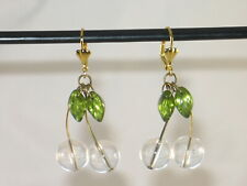 Vintage Retro Style Clear Rock Crystal Raindrops & Glass Leaves Drop Earrings