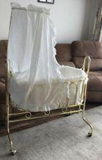 Vintage Brass Cradle Rocking Crib Victorian Style