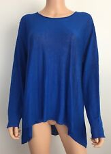 NWT Eileen Fisher Organic Linen Crepe Knit blue top Size L long sleeved $218