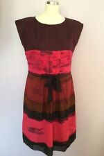 Silk Round Neck Striped Dresses Midi