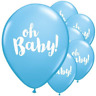 "12 Pack Blue ""Oh Baby""  BABY Shower Latex Balloons Boy Party Supplies Decor NEW"