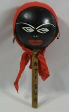 "ANTIQUE FOLK ART ""MUSICIAL INSTRUMENT"" HANDPAINTED WOMAN'S HEAD ON A STICK"