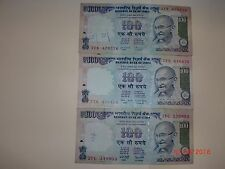 India Paper Money- 3 Old 'Mg' Notes-Rs.100/-Year 'Nil'-3 Signs-G-46,G52& 59#Eaf