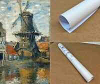 Claude Monet The Windmill Amsterdam Fine Art Print on Canvas Wall Decor Giclee