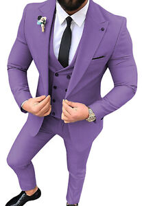 Mens 3Piece Men Suit Notched Lapel Solid Groom Tuxedos Wedding Blazer+Vest+Pants