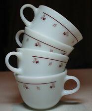 lot 4 vtg Pyrex white milk glass coffee cups dark red burgundy flower rose leaf