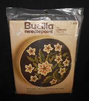 "New Vtg Bucilla FLORAL SPRAY Complete 14"" Round Box Pillow Needlepoint Kit Brown"