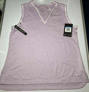 Womens Nike V-Neck Sleeveless Golf Polo Purple AV3657-543 Sz L NWT $70