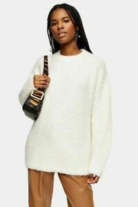 Topshop Longline Sweater Top Size 12 L Mock Neck Boucle Ivory NWT $75 B34