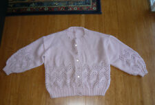Vintage Pink Purple Cardigan Chunky Handmade Button Up Jumper Size M