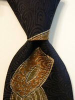 ADOLFO COUTURE Men's 100% Silk Necktie USA Designer Geometric Blue/Brown EUC