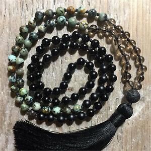 Natural Black Onyx 108 Beads Handmade Tassel Necklace Religious Blessing Healing
