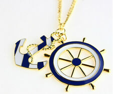 Great Quality Nautical Blue White Anchor Gold Chain Pendant Necklace - FAST!