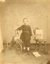 Petit garçon aux livres et au cheval Vintage albumen print Tirage al