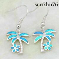 Women 925 Silver Cute Palm Tree Ocean Blue Fire Opal Jewelry Dangle Drop Earring
