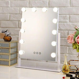 12 LED Touch Screen Makeup Mirror Tabletop Cosmetic Vanity light up Mirror UK