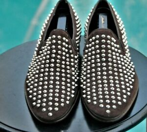 New $975 Baldinini Men's Spiked Suede Loafers Shoes Dark Brown brand sz 42 US10