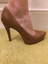 "Used Ladies Brown Leather Size 6 Platform 5"" High Heel Aldo Shoes"
