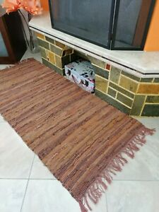 Leather Rug BROWN Carpet Hearth Fire Resistant