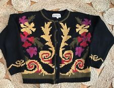 Westbound Medium Womens Floral Cardigan Heavy Seeater Chunky