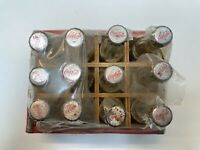 12 x Vintage Small Coca Cola Bottles with Red Wooden Case Partially Sealed