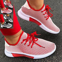 Womens Ladies Lace Up Mesh Trainer Breathable Casual Running Sneaker Summer Shoe