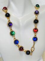 Mid 1900's Vintage Multi Color Cabochon Jelly Element Gold Tone Link Necklace
